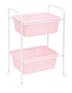 脱衣カゴ2段ピンク
