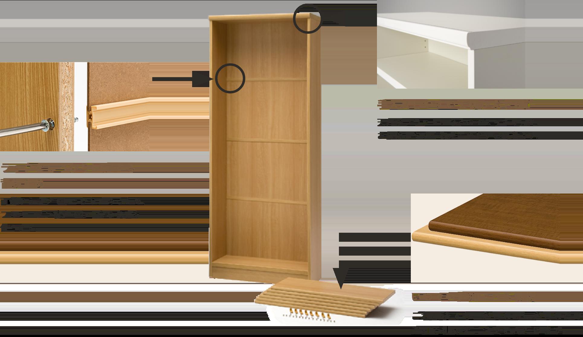 手入れしやすい天板かぶせ構造、ラックをしっかり固定する背板止め、いつでも追加できる棚板